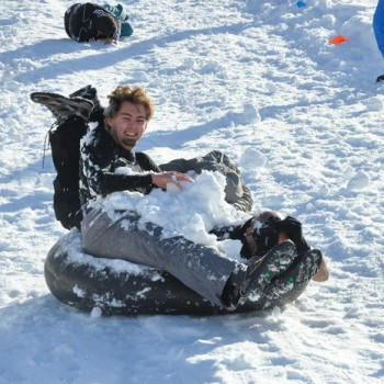 human bowling snow party